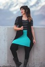 Teal-polka-dot-skirt-the-issue-skirt-brown-wood-daraja-imports-earrings