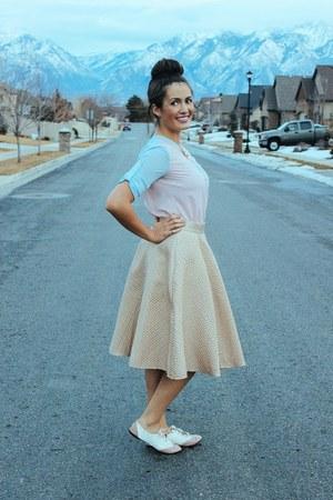 gold Lulus skirt - light pink sheer 6ks shirt