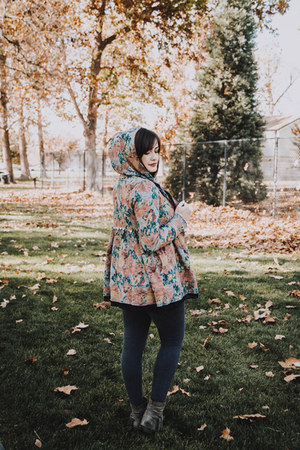 teal floral Evys Tree cardigan