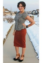 burnt orange pencil skirt Lovenell skirt - black suede Lulus wedges