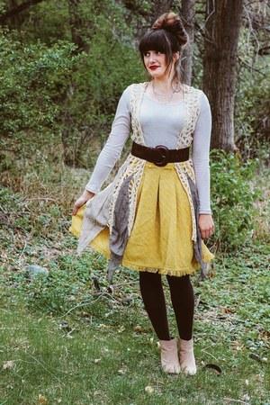 mustard classy Anthropologie skirt