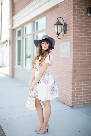 off white floral print Pink Blush dress