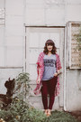 Heather-gray-tshirt-mulberry-press-co-shirt-maroon-kimono-loopsway-cardigan