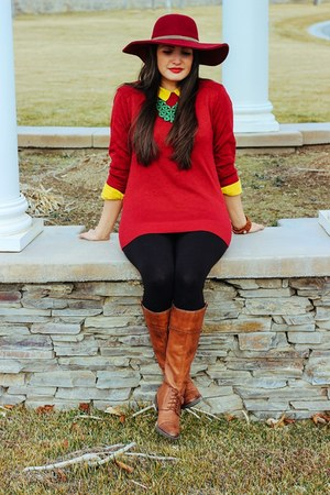 ruby red cotton Forever 21 sweater