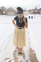 light yellow cotton unknown brand skirt - black hair bow Forever 21 accessories