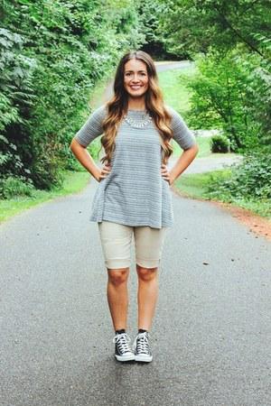 heather gray stripes TJ Maxx shirt