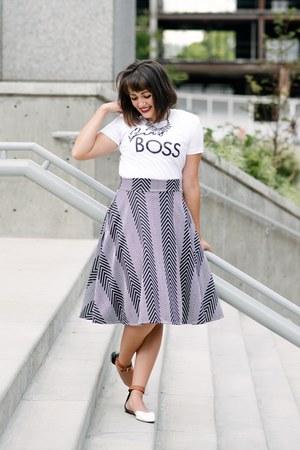 black chevron Agnes and Dora skirt - white graphic tee J Bella Shop shirt