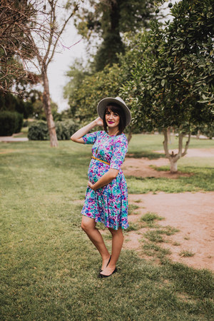 blue floral Pink Blush Maternity dress
