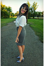 White-striped-thrifted-shirt-charcoal-gray-bodycon-forever-21-skirt