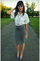 charcoal gray bodycon Forever 21 skirt - white striped thrifted shirt