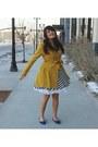 Black-striped-lulus-dress-mustard-peacoat-lulus-coat