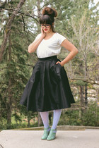 sky blue sheer Hanes tights - black high waisted Lucy and Lyla skirt