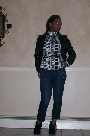 black jacket - american eagle outfitters jeans - vintage from thrift store shirt