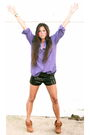 Purple-urban-outfitters-blouse-purple-forever-21-shorts-purple-charles-david
