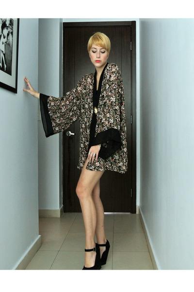kimono top - thrifted shorts