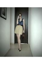Zara heels - vintage hat - Urban Outfitters blouse - Zara skirt