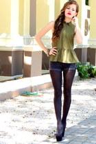 olive green peplum American Eagle shirt - dark gray solid Aldo tights