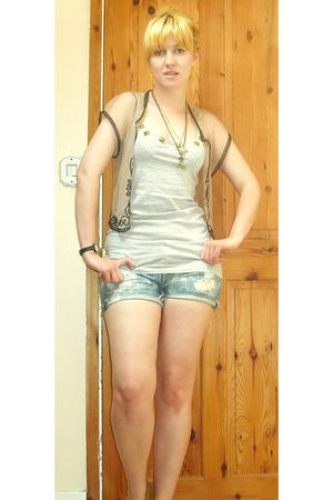 beige Miss Selfridgege cardigan - gray H&M vest - blue Firetrap shorts