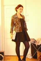 H&M jacket - Topshop dress - tights - Topshop necklace - Aldo purse