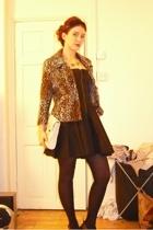 H&M jacket - Topshop dress - tights - Topshop necklace - Aldo purse