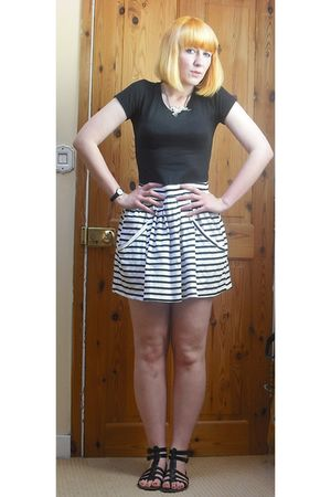 black Urban Outfitters t-shirt - white Zara skirt - black Primark shoes