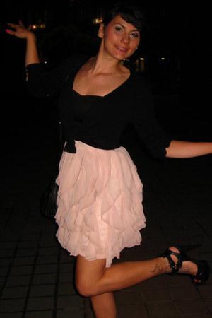 black Blend she cardigan - light pink H&M dress - black Gucci shoes - H&M bag