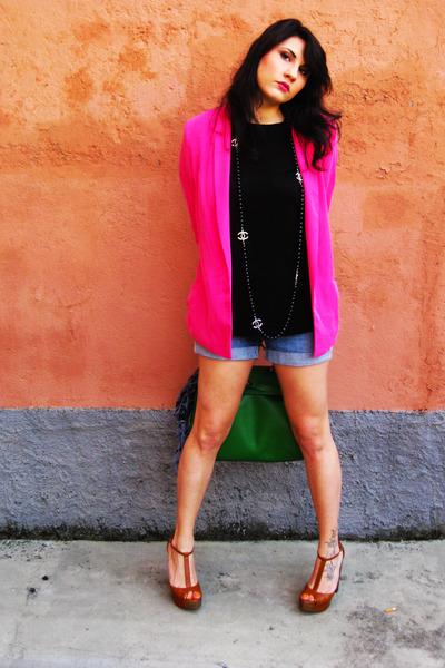 Zara blazer - H&M shorts - H&M t-shirt - Bershka heels