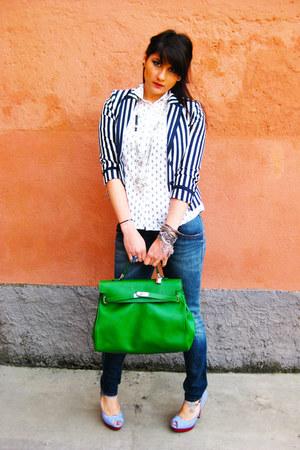 navy Fornarina jeans - blue H&M blazer - white RARE shirt - chartreuse bag - Buf