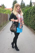 black Deichmann shoes - black Orsay blazer - black H&M bag - turquoise blue Zara