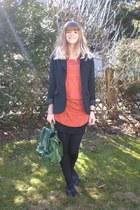 tawny H&M shirt - green H&M bag - black H&M skirt