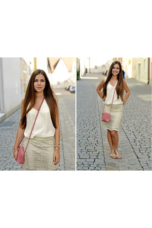 beige beige Zara skirt - leather emporio armani bag - white white Zara top