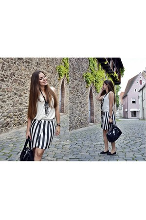 striped Skirt skirt - satyn white Top top