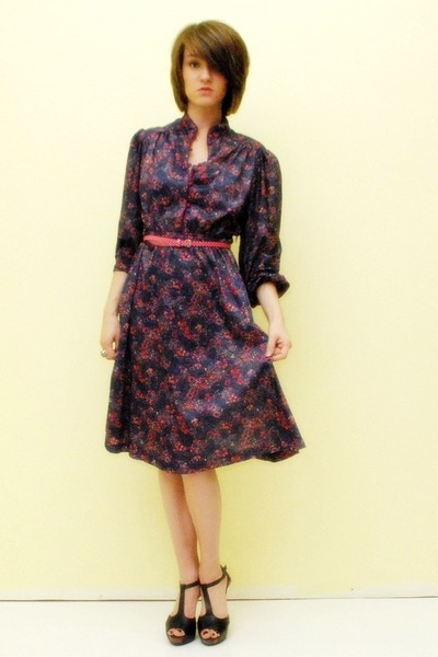 purple floral dress vintage dress