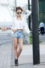 Black-new-look-boots-white-mango-blazer-light-blue-miss-selfridge-shorts