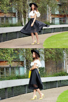 black asos skirt - yellow Boohoo bag - white Boohoo top