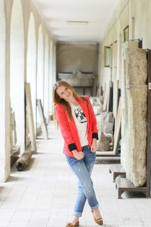 denny rose blazer - Please it jeans - denny rose t-shirt - new look flats