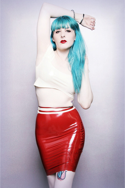 red Deer Couture skirt - ivory white latex Deer Couture top
