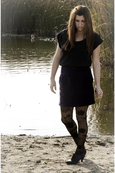purple Forever 21 skirt - black BDG blouse - black Urban Outfitters tights - bla