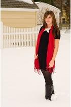 black Target dress - black JCrew tights - black aerosoles shoes - red H&M scarf