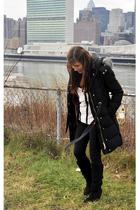 black Kimchi Blue boots - black Levis pants - white Silence&Noise blouse - red F