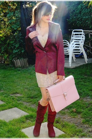 magenta thrifted vintage blazer - magenta suede new look boots