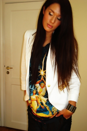 white Zara  DIY studded blazer - black H&M t-shirt