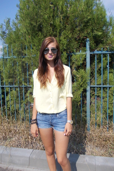 black bracelet - light yellow H&M shirt - blue unknown shorts - gold watch