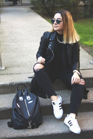 leather Zara jacket - superstars Adidas sneakers