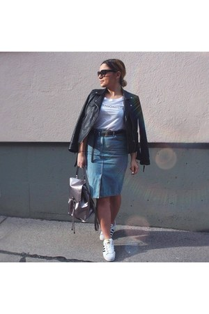 pencil skirt new look skirt - black leather Zara jacket - white Review t-shirt