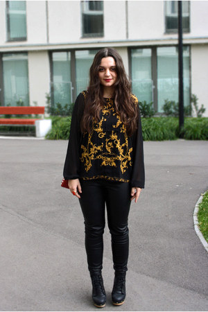 black leather Pimkie boots - baroque Forever21 shirt