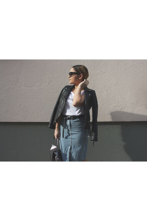 leather Zara jacket - Prada sunglasses - Review t-shirt - new look skirt