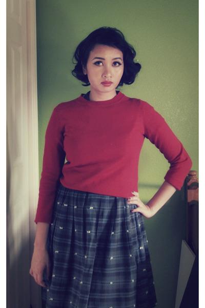 navy vintage dress - ruby red banana republic sweater