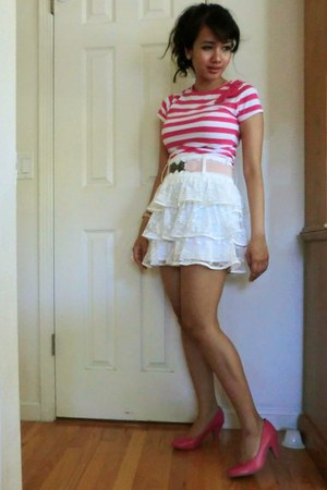 hot pink Sarah&amp; Honey shirt - white lace Better B skirt - hot pink kitten heels 