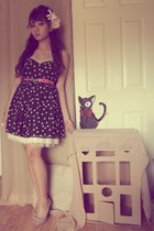 black polka dots Wet Seal dress - bubble gum found belt